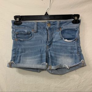 American eagle light wash midi shorts